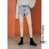 高腰破洞牛仔超短褲女口袋印花不對稱熱褲【聚物優品】