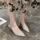涼鞋女2021新款網紅包頭高跟涼鞋時尚外穿尖頭細跟拖鞋百搭仙女鞋 快速出貨