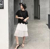 韓兩件式拼接裙洋裝L-2XL波浪邊雪紡壓褶短袖兩件套連衣裙景1F5.6100 皇潮天下