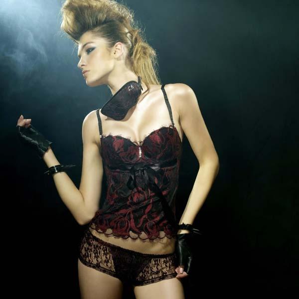 Chasney Beauty-鬱金香S-L蕾絲三角褲(黑紅)