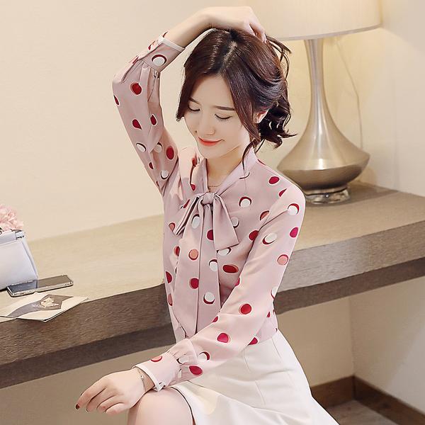 超殺出清 韓國風系帶蝴蝶結雪紡襯衫波點長袖上衣