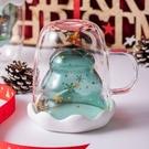 [拉拉百貨]聖誕樹雙層玻璃杯 X'mas 聖誕節 附贈杯蓋 造型 耐熱 隔熱玻璃杯 交換禮物 水晶杯