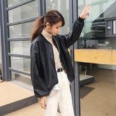 夾克 皮衣女寬鬆外套春秋新款bf風PU皮棒球服韓版學生帥氣皮夾克