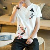 夏季中國風亞麻男士短袖T恤男V領寬鬆大碼休閒棉麻刺繡薄款布衣潮