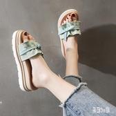 拖鞋女時尚夏外穿可愛2020新款ins潮增高百搭厚底網紅鬆糕涼拖鞋 HX5412【易購3C館】