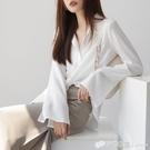 雪紡襯衫女長袖春裝新款寬松韓版設計感小眾上衣喇叭袖白襯衣 檸檬衣舍