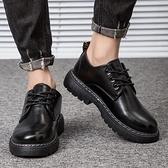 大頭皮鞋男全黑色防水防滑廚房上班工作工裝休閒廚師專用小黑男鞋