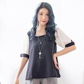 棉衫--極致性感甜美風情圓領交叉美背格紋綁帶袖棉衫(黑.藍XL-5L)-U399眼圈熊中大尺碼◎