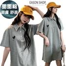 EASON SHOP(GW6052)實拍愛心麻灰色長版POLO領翻領短袖傘狀A字T恤裙連身裙洋裝女上衣服短裙膝上裙