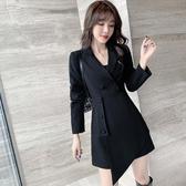 韓版女裝實拍2020秋冬新款氣質翻領不規則收腰顯瘦黑色西裝連身裙