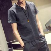 男士短袖T恤2018夏季棉麻亞麻大碼男裝v領青年日系潮寬鬆休閒上衣  良品鋪子