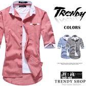『潮段班』【ML050078】韓風文青款直條紋口袋皮標條紋反摺拼接撞色七分袖襯衫