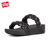 限定優惠價!【FitFlop】PLATT METALLIC LEATHER SLIDES髮辮造型涼鞋(黑色)
