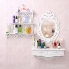 韓歐式壁掛梳妝台鏡迷你臥室小戶型現代簡約白色田園化妝台梳妝桌 YDL