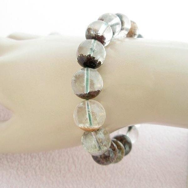 【歡喜心珠寶】【天然巴西綠幽靈水晶圓珠12mm手鍊】17顆.重43.3g「附保証書」超低價售出