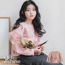 女童上衣 甜美粉加厚拼接網紗花邊長袖上衣 韓國外貿中大童 QB allshine