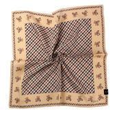 DAKS經典格紋泰迪熊100%純棉帕巾(淺咖啡色)989108-131