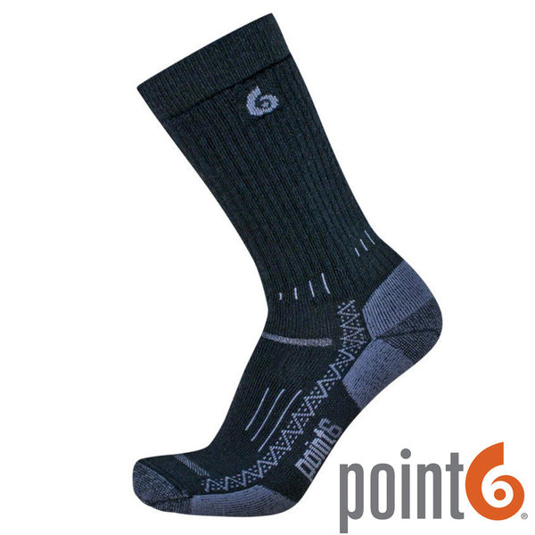 【POINT 6 美國】 Hiking Tech Medium 羊毛 健行排汗中筒襪『黑』22611530 戶外|休閒|保暖襪|羊毛襪