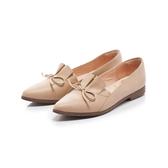 ~Fair Lady ~懶骨頭百摺皮革結飾尖頭平底鞋粉