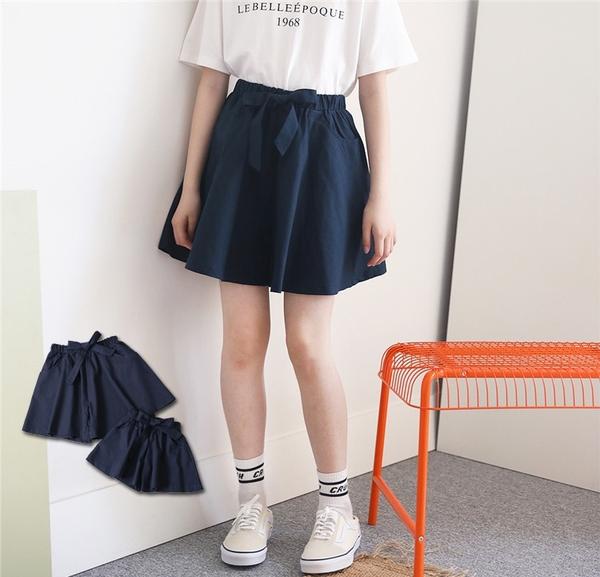大童 純棉 綁帶雙口袋深藍短褲 春夏童裝 女童短褲 女童褲裙 女童寬褲 女童褲子 親子裝