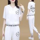 夏天運動服套裝女2021年春夏新款潮牌時尚短袖冰絲棉麻休閒兩件套 設計師
