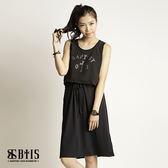 【BTIS】條紋文字雪紡 背心洋裝  / 黑