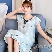 夏季無袖睡裙女士棉綢睡衣長款短袖綿綢可愛公主風新款薄款家居服 小時光生活館