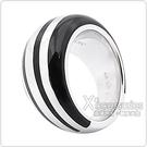 萬寶龍MONTBLANC 壓印LOGO條紋設計圓弧寬版(黑x銀)