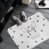 簡約舒柔地墊腳踏墊-雨點白底小兔 (40x60cm)