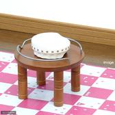 【寵物王國】日本Richell-木製加高單碗架-白/棕