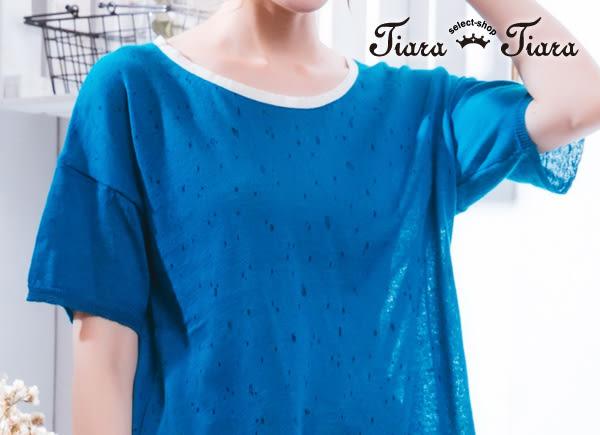 【Tiara Tiara】激安 細碎點點寬肩短袖上衣(藍)