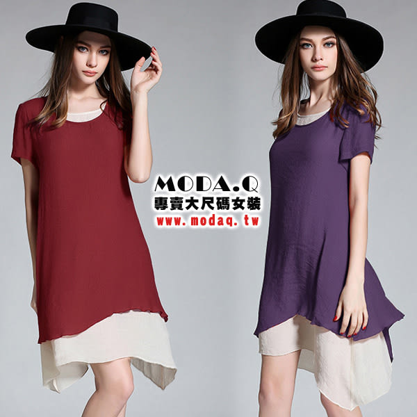 *MoDa.Q中大尺碼*【Y9275】不規則下擺假兩件造型短袖長版洋裝上衣