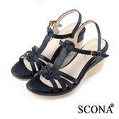 SCONA 蘇格南 全真皮 質感舒適交叉楔型涼鞋 藍色 22722-2