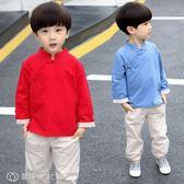 童裝 男童唐裝復古兒童漢服古裝夏季中國風民國童裝周歲男寶寶棉麻套裝 【創時代3c館】