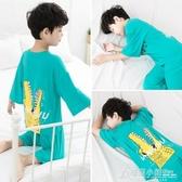 男童家居服套裝兒童睡衣夏季裝薄款新款寶寶中大童小孩空調服 格蘭小舖