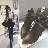 丁果、靴子35-39►韓版綁帶簡約高跟踝靴