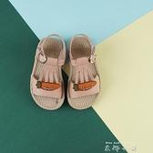 女童涼鞋2021新款夏季時尚玫瑰花公主鞋中大童軟底兒童小女孩涼鞋