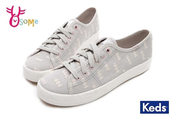 Keds KICKSTART 帆布鞋 女款 森林刺繡綁帶休閒鞋 I9802#灰色◆OSOME奧森鞋業
