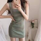 夜店女裝韓國夏季修身打底針織吊帶低胸洋裝緊身包臀顯瘦性感短裙夜店女 朵拉朵