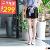 《BA4107-》附格紋綁帶高含棉素面短褲 OB嚴選