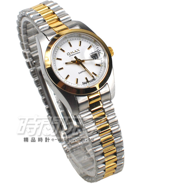 OMAX 時尚城市圓錶 半金色不銹鋼帶 藍寶石水晶 女錶 日期視窗 OM4002L半金T