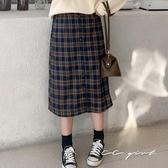 中大尺碼  格紋排釦長裙 - 適XL~4L《  69153  》CC-GIRL