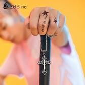 項鍊 懺悔十字架項鍊男士韓版潮流個性復古鈦鋼耶穌吊墜毛衣鍊掛件配飾