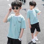 大碼 男童夏季條紋T恤圓領短袖2019新款兒童中大童半袖體恤潮 qz5201【野之旅】