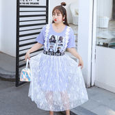 中大尺碼~蕾絲裙長版T恤背帶兩件式短袖洋裝套裝(XL~4XL)
