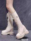 高筒馬丁靴女2019新款秋冬季百搭內增高繫帶長靴不過膝厚底騎士靴『櫻花小屋』