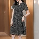 M-4XL大碼洋裝~1026# 2021夏季新品氣質短袖連身裙中長款春M5F-E076胖妞衣櫥
