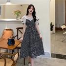 VK精品服飾 韓國楓顯瘦假兩件圓領蝴蝶結泡泡袖短袖洋裝