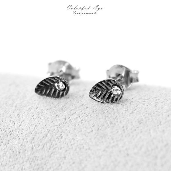 銀飾 水鑽葉子耳針耳環NPD156