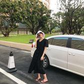 2018夏季正韓新品復古素面V領寬鬆慵懶風短袖挺版洋裝女長裙  S-M(全館八五折)